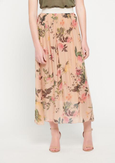 Lange zijden rok met print - PINK BLADE - 07100190_5715