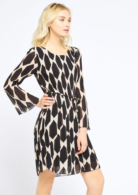 Plissé-jurk met dierenprint - BLACK - 08100607_1119