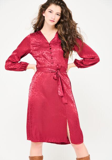 Satijnen jurk met luipaardprint - BORDEAU WINE - 08102673_1467