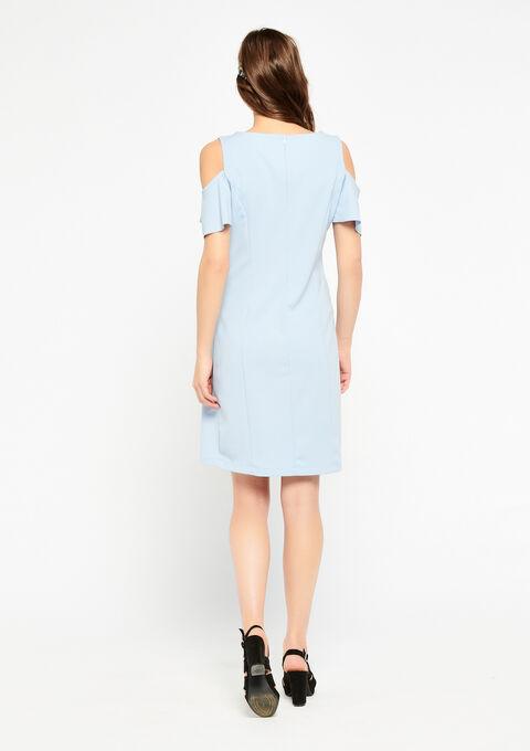 Bodycon jurk met open schouders - BLEU LAVANDE - 08100705_3005