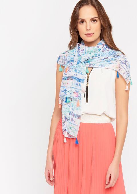 Sjaal met pompons en grafische print - LIGHT BLUE - 996324