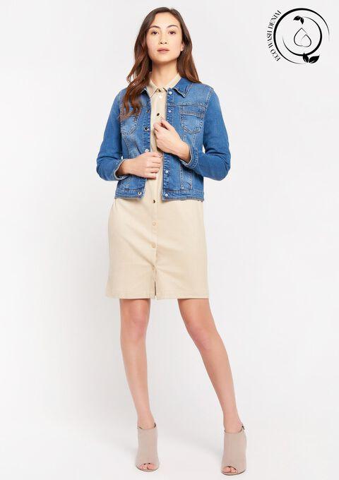 Eco-wash: Jeansjas met versierde zakken - MEDIUM BLUE - 09100320_500