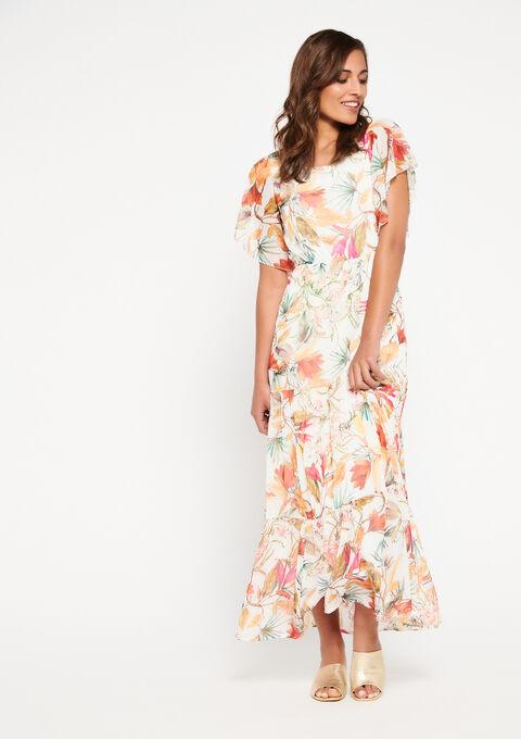 Lange bloemenjurk - WHITE ALYSSUM - 08600600_2502
