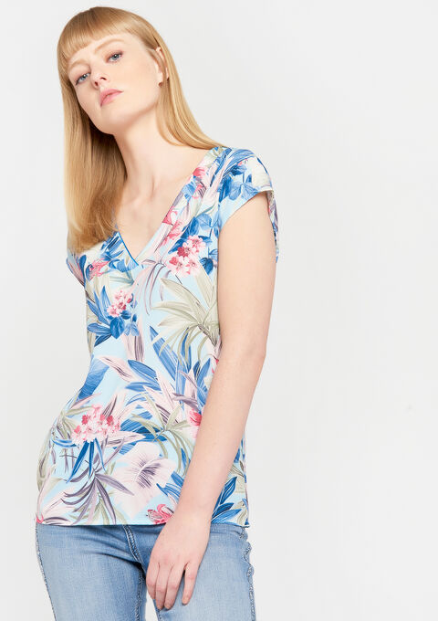 Blouse met bloemenprint - REGATTA BLUE - 05700542_1547