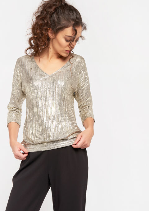 Sparkly pleated top - GOLD - 02300586_1058