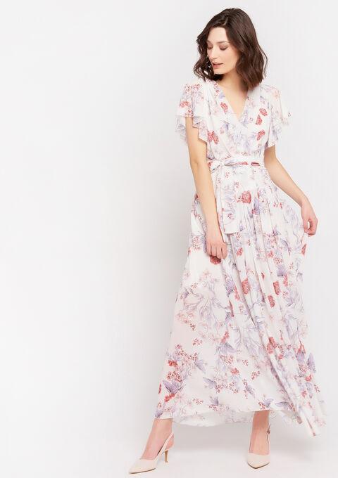 Maxi cache-coeur jurk met bloemenprint - NATURAL WHITE - 08601128_2510