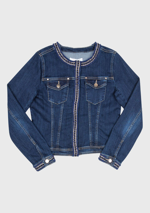 Jeansvest met tape rond de hals - BLUE DENIM - 09100141_1638