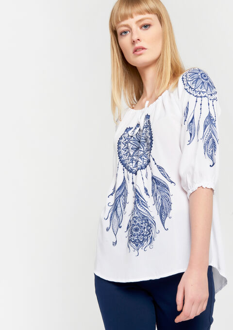 Blouse met boothals - OFFWHITE - 05700522_1001