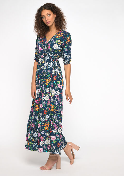 Maxi robe imprimé fleurs - NAVY BLUE - 08600992_1651