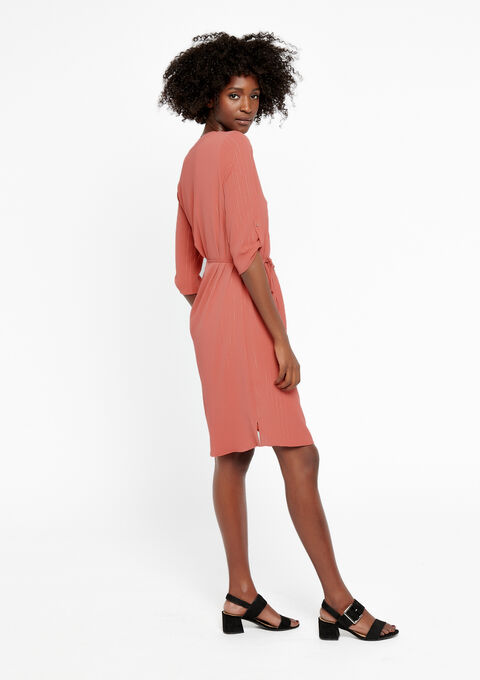 Rechte jurk met oosterse kraag - MANGO PINK - 08100354_5616