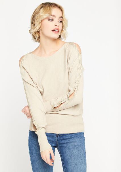 Sweater with strass detail - BEIGE BIRCH - 04005149_1929