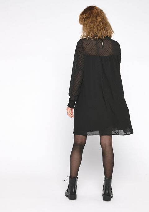 Wijde jurk met ruches en stipjes - BLACK - 08102018_1119