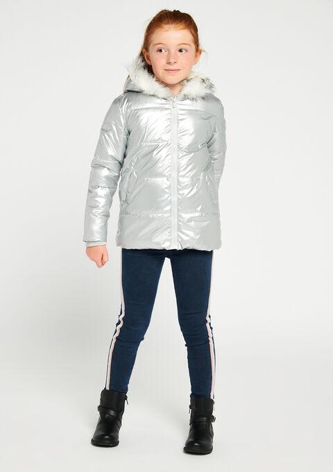 Gewatteerde jas met kap - METALLIC - 10000717_533