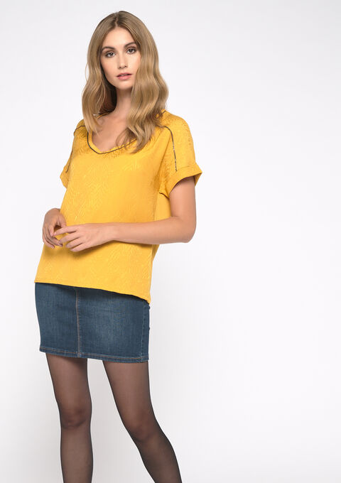 2 stoffen t-shirt - YELLOW MINERAL - 02300481_1222