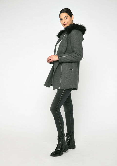 Assymetrical coat - DARK GREY MEL - 23000125_1108
