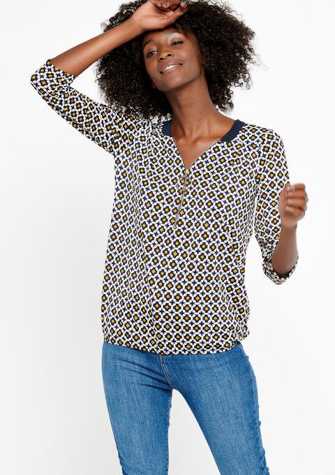 T-shirt met arabesken en rits - GOLDEN OCHER - 02300174_1239