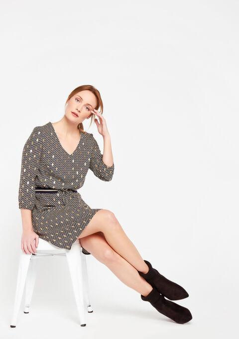 Rechte jurk met glanzende print - LEMON CURRY - 08100564_1237