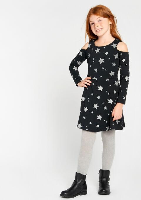 A-lijn jurk met sterren - DARK GREY - 08100042_931