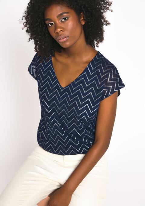 T-shirt met zigzagpatroon, v-hals - BLACK IRIS - 02300189_1667
