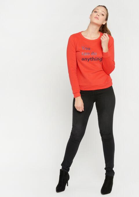 Fleece sweater met slogan - RED SOFT - 03001387_5314