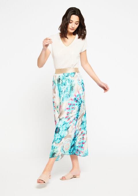 Lange rok met tie dye print - LIGHT GREEN - 07100219_1822
