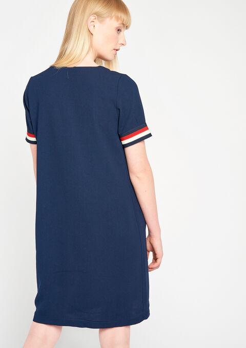 Rechte jurk met v-hals - NAVY BLUE - 08100104_1651