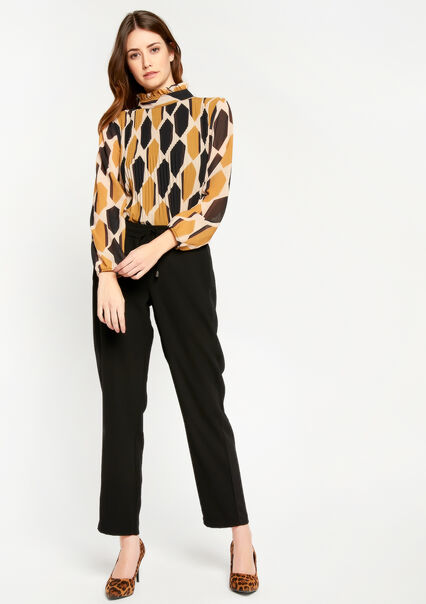 Pleaded blouse with high collar - LEMON CURRY - 05700295_1237