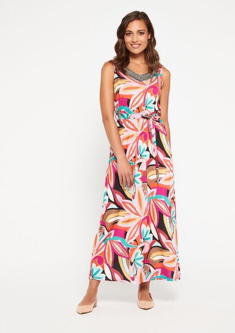 Lange jurk, retro-print - AKEBIA FUSHIA - 08600444_5613