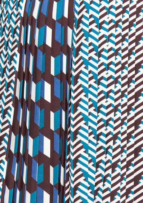Plissé rok met grafische print - TURQUOISE SPRUCE - 07100146_3101