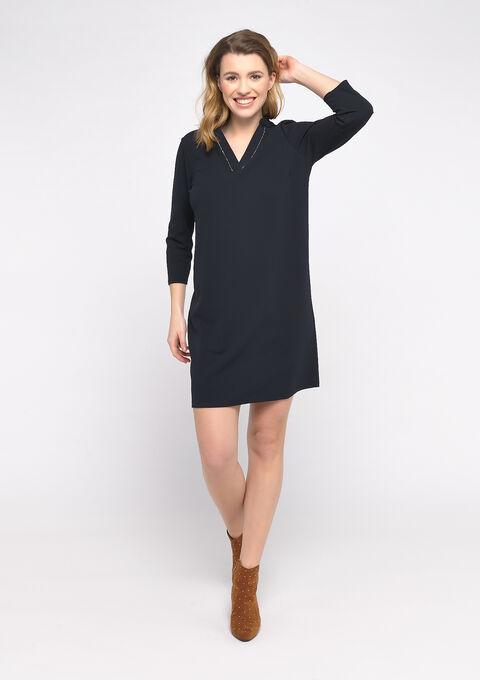 Rechte jurk met oosterse kraag - NAVY POWER - 08102134_2719