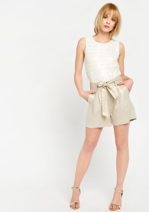 Short in linnen - SIMPLE TAUPE - 06100175_1044
