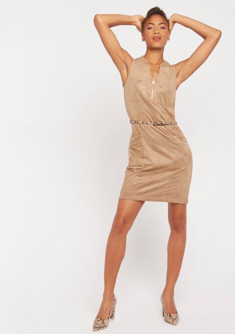Robe suèdine - BEIGE BROWN - 08100726_4014