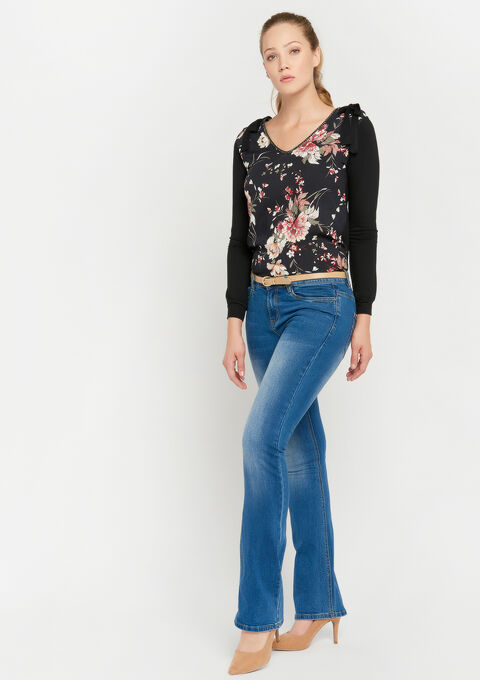 Bootcut jeans met riem - MEDIUM BLUE - 22000125_500