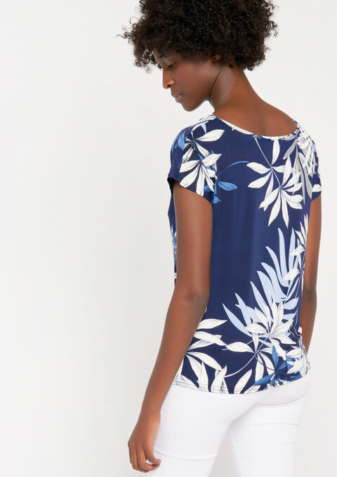 T-shirt, watervalkraag en bloemenprint - NAVY HEAVEN - 02300220_2711