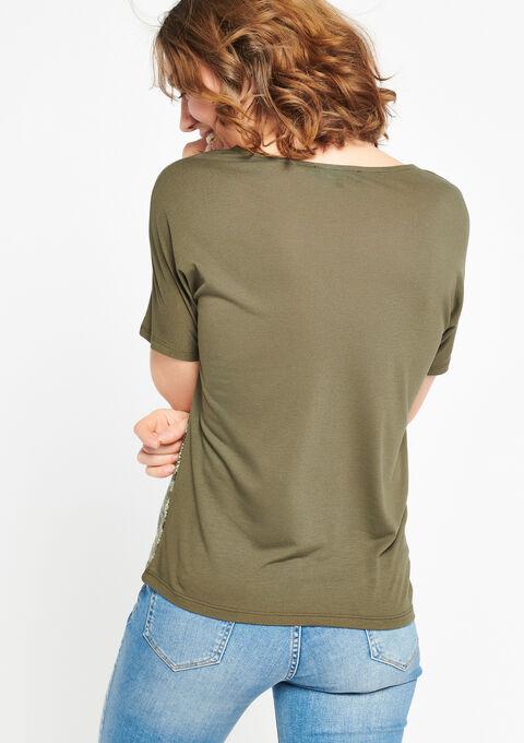 T-shirt met v-hals en python print - KHAKI DUSKY - 02300184_4402