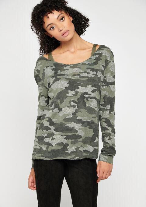T-shirt imprimé camouflage - KHAKI GREEK - 02400084_4309