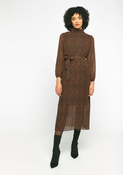 Robe plissée imprimé animal - CARAMEL - 08600999_1953