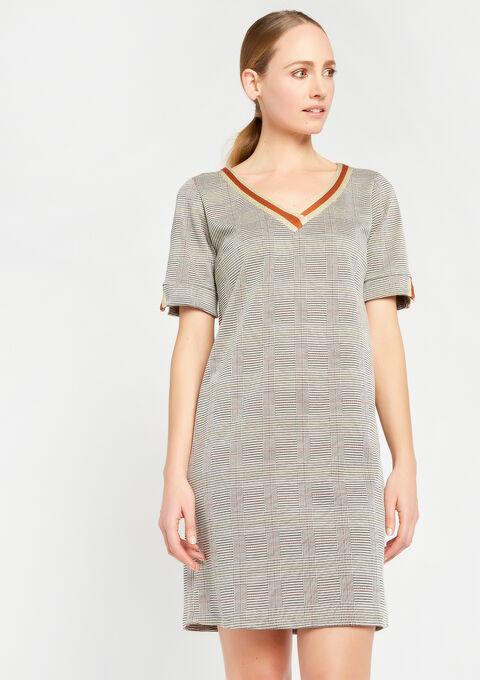 Rechte jurk met v-hals & print - BROWN SHELL - 932590