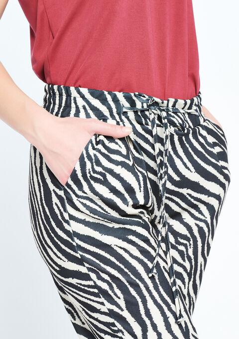 Wijde broek met zebra print - BLACK - 06600092_1119