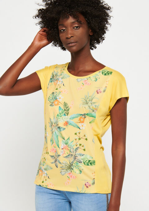 T-shirt met bloemenprint - LEMON CURRY - 947083