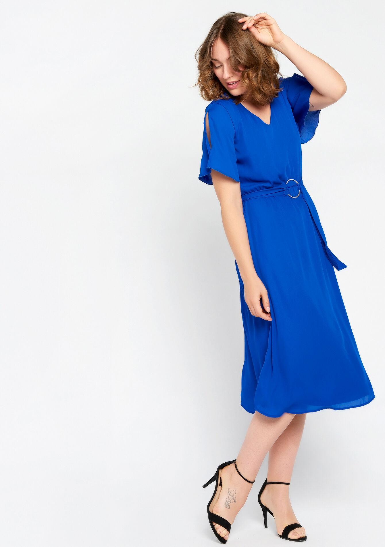 Effen jurk met v-hals - BLUE ELECTRICAL - 08100533_2805