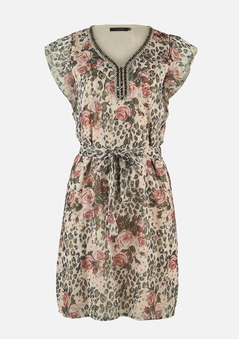 Mini jurk bloemenprint - BEIGE BIRCH - 08102247_1929