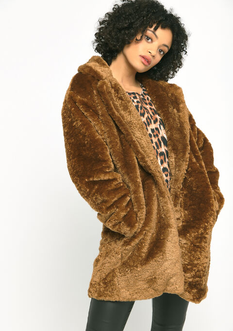 Oversized teddy coat - CARAMEL CAFE - 23000196_1275