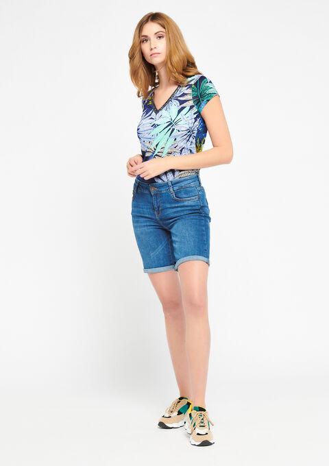 Jeansshort met omgeslagen pijpen - MEDIUM BLUE - 22000028_500