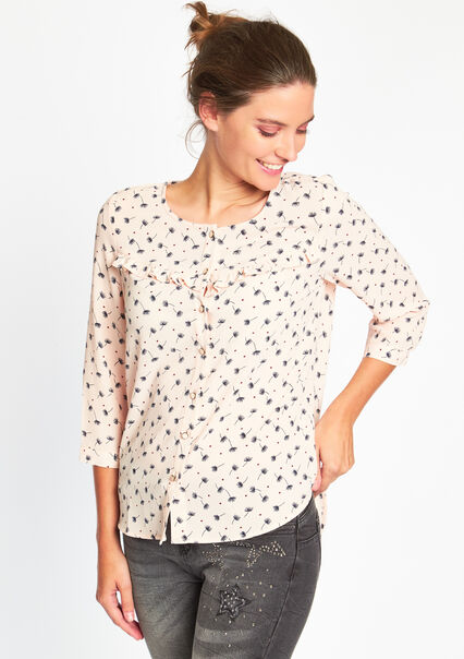 Geprinte blouse met ruches - PINK BUBBLY - 05003013_1473