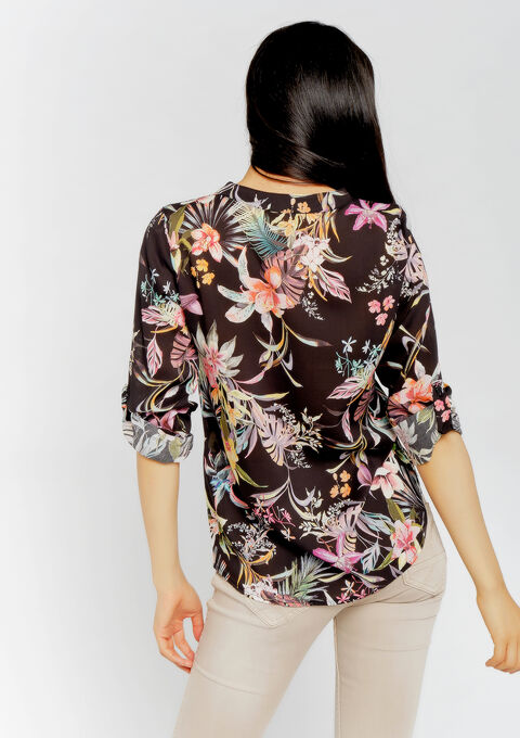 Blouse met tropische print - BLACK BEAUTY - 05700570_2600