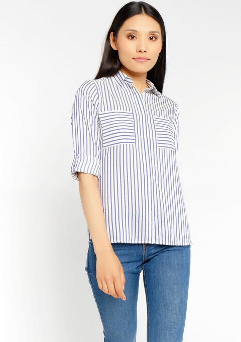 Gestreepte blouse met zakken - NAVY MIST - 958090