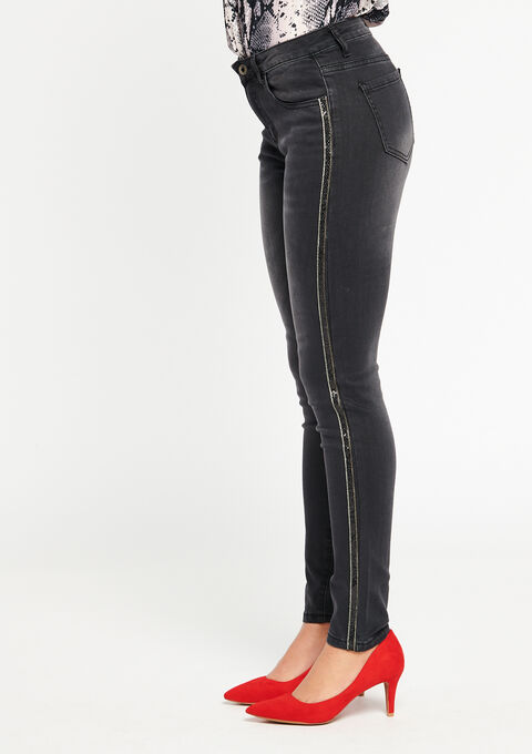 Skinny jeans with side tape - BLACK - 22000052_1119