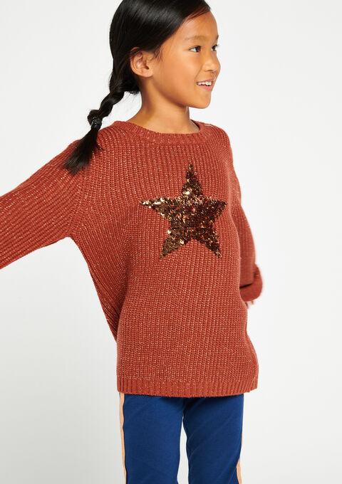 Trui met grote ster in lovertjes - PINK GINGER - 04004523_5609