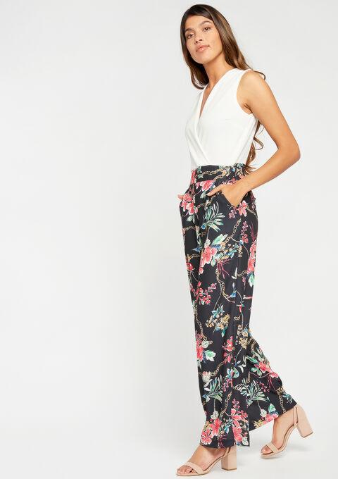 Jumpsuit met bloemenprint & effen top - BLACK - 06003885_1119